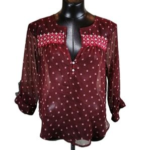 Hollister Sheer Boho Top with Embroidery Size Med